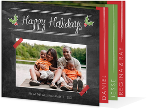 Red and Green Holly Chalkboard Booklet Holiday Photo Card