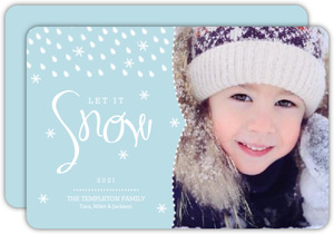 Blue Falling Snowflakes Holiday Photo Card