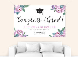 Soft Garden Flowers Graduation Banner
