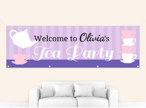 Green and Pink Tea Party Banner