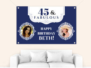 Forty and Fabulous Blue Birthday Banner