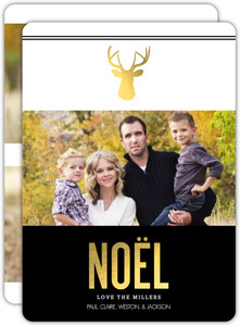 Black and Faux Gold Deer Holiday Photo Card