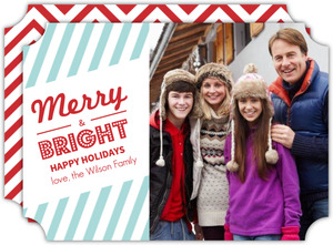 Striped Retro Holiday Photo Card