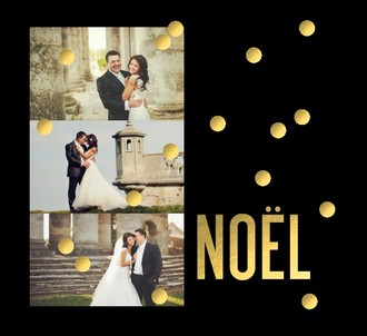 Faux Foil Noel Photo Holiday Card