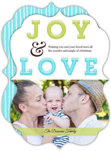 Joy Blue and Green Holiday Photo Card