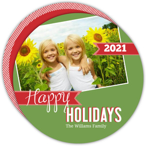 Classic Colors Circle Holiday Photo Card