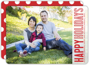 Red Simple Lettering Holiday Photo Card