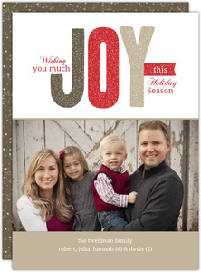 Festive Glitter Joy Holiday Photo Card