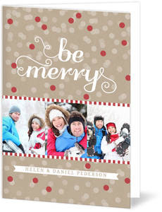 Be Merry Modern Dots Photo Holiday Card