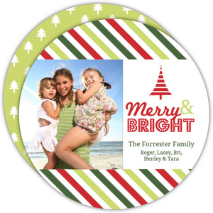 Colorful Stripes Circle Holiday Photo Card