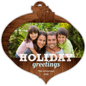 Rustic Holiday Greetings Heart Shaped Holiday Card