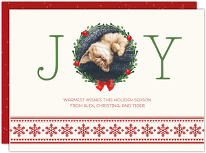 Festive Joy Wreath Pet Holiday Photo Card