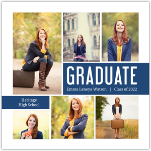 Navy Photo Collage Graduation Invitation