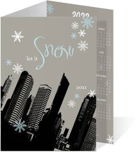 Let It Snow Cityscape Holiday Photo Card