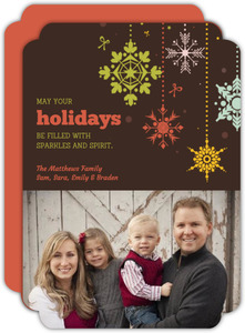 Hanging Snowflakes New Years Photo Card