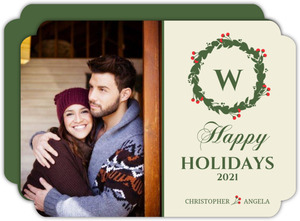 Elegant Berry Wreath Holiday Photo Card