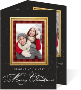 Red Plaid Gold Frame Christmas Trifold