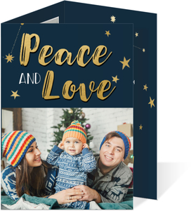 Gold Peace & Love Holiday Trifold