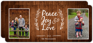 Rustic Woodgrain Lettering Holiday Photo Card