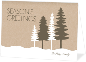Green and Kraft Forest Scene Holiday Photo Card