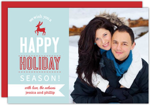 Blue And Red Reindeer Holiday Photo Cards