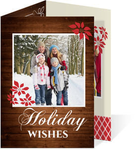 Wood Grain And Poinsettia Holiday Photo Card