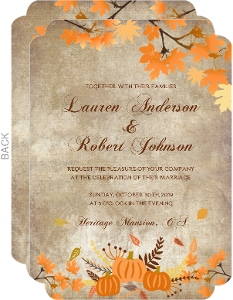 Autumn Leaves Pumpkin Wedding Invitation