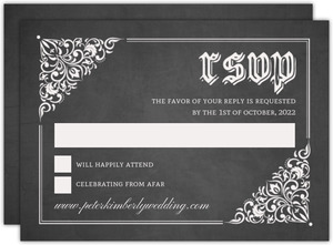 Vintage Decor Chalkboard Halloween Wedding Response Card