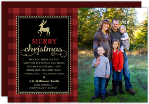Glitter And Plaid Religious Christmas Photo Card