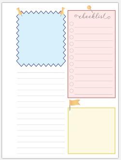 6x8 Pushpin Journal Inside Page | Custom Paper Packs