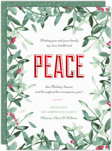 Watercolor Frame & Peace Holiday Photo Card