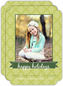 Modern Green Holiday Photo Card