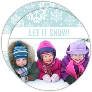 Let It Snow Circle Holiday Photo Card