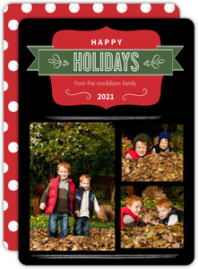 Black and Red Frame Holiday Photo Card