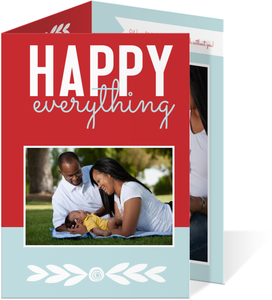 Happy Everything Red and Blue Holiday Photo Card