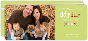 Green Holly Jolly Holiday Photo Card