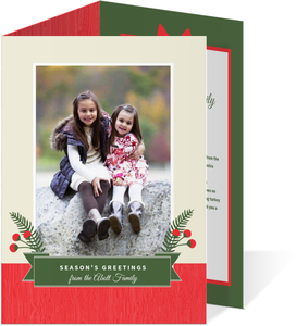 Red and Green Rustic Berries Holiday Photo Card