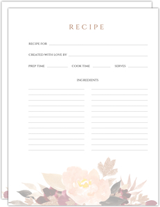 Faux Glitter Watercolor Foliage Recipe Pages