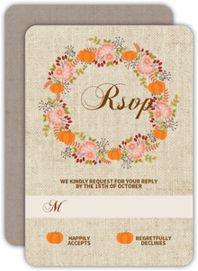Fall Pumpkin Wreath Wedding Response Card