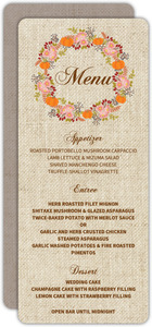 Fall Pumpkin Wreath Wedding Menu Card