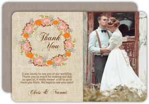 Fall Pumpkin Wreath Wedding Thank You Card