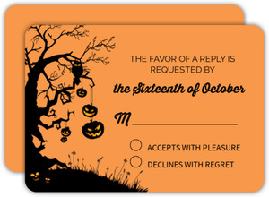 Tree And Pumpkins Halloween Wedding Response Card