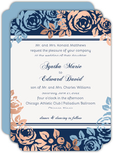 Faux Copper Foil Blue Floral Wedding Invitation