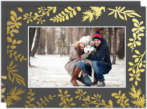 Gold Foil Frame with Leaves Holiday Photo Card