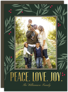 Gold Foil Peace Love Joy Holiday Photo Card