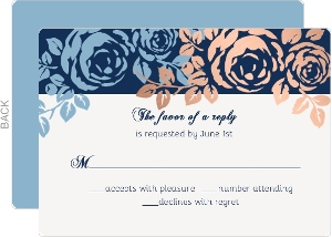 Faux Copper Foil Blue Floral Wedding Response Card