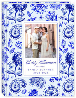 Royal Blue Watercolor Pattern Mom Planner