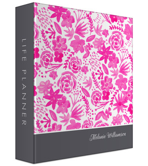 Pink Handpainted Floral Mom 3 Ring Binder Planner