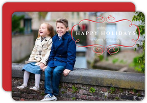 Elegant Red and White Holiday Photo Card