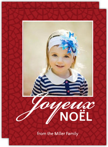 Red Linen Joyeux Noel Holiday Photo Card